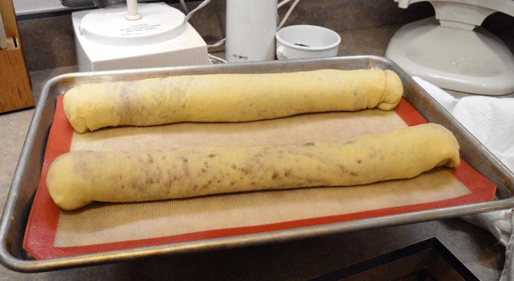 grannie geek, walnut rolls formed onto sheet pans