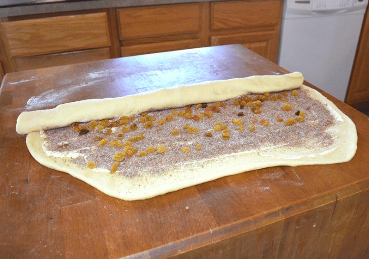 grannie geek, gooey cinnamon raisin rolls, half roll