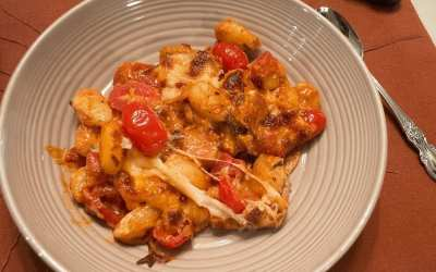 Baked Gnocchi with Bacon, Tomato & Mozzarella