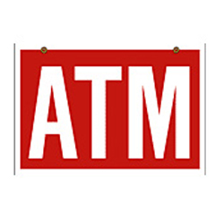 atm hanging sign - ATM 22x32 Red Hanging Sign