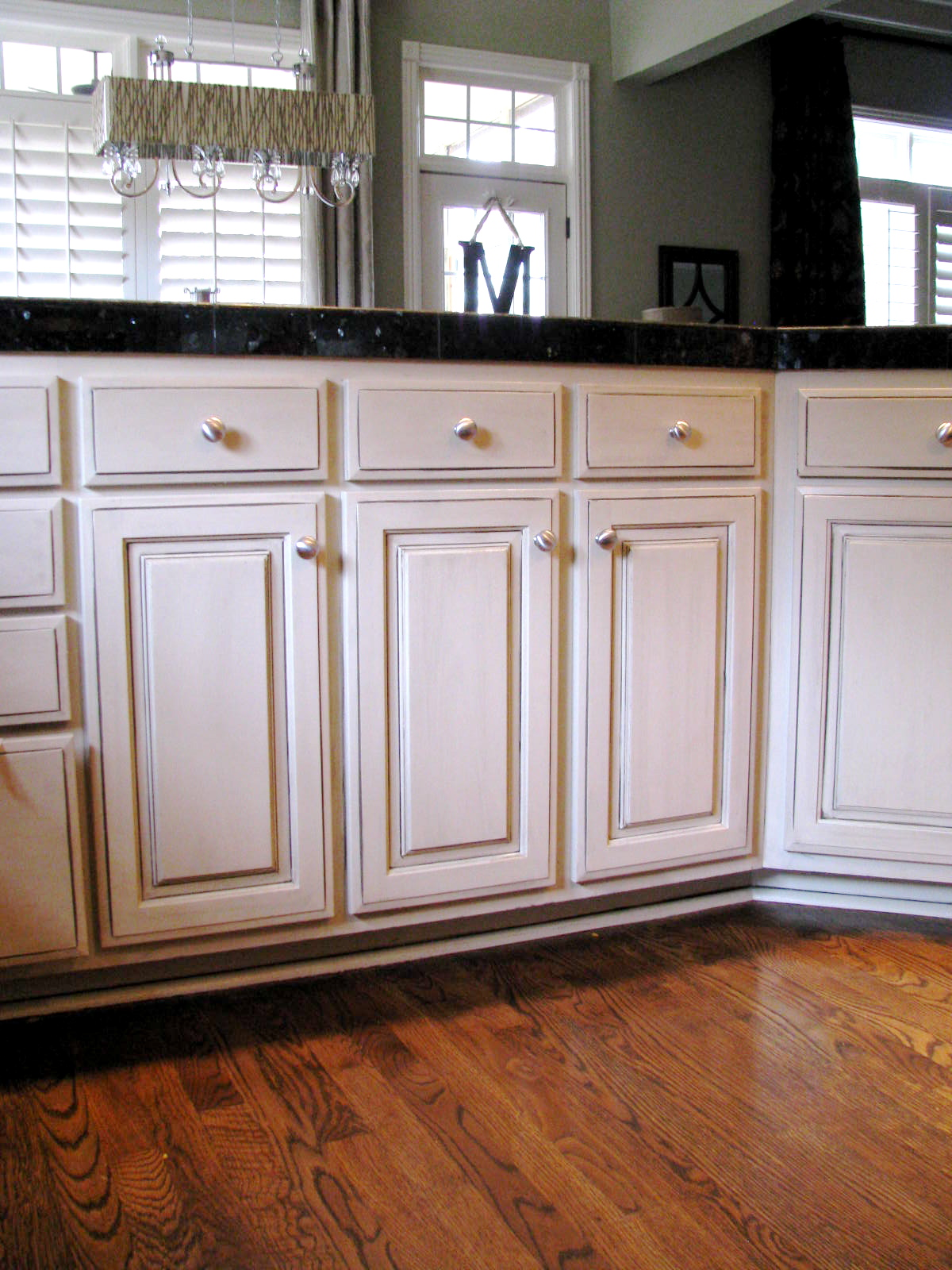 glazed kitchen cabinets large wall clocks cream with chocolate glaze