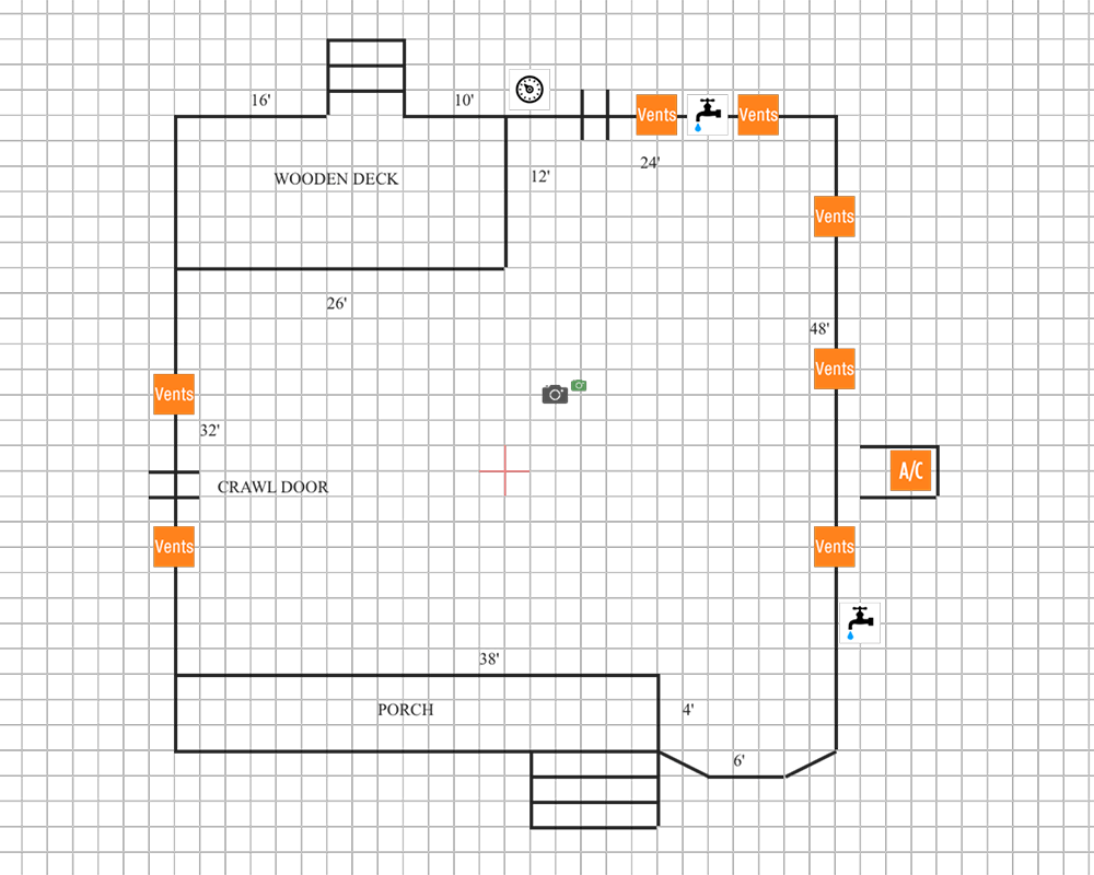 Layout for crawl space moisture control system