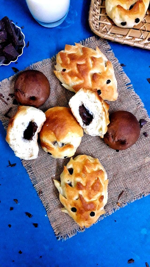 Hedgehog Bread Rolls / Chocolate Stuffed Hedgehog Bread / Stuffed Hedgehog Buns