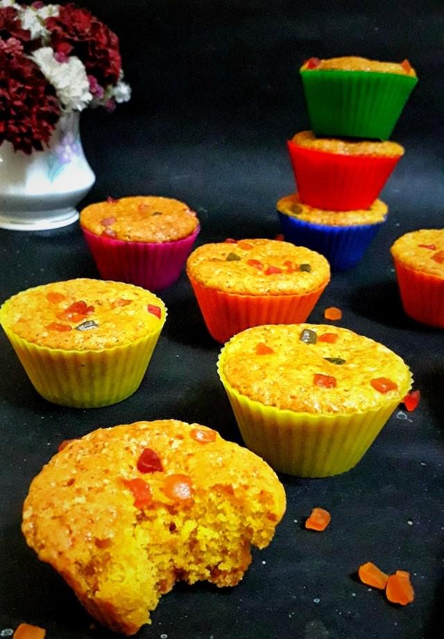 Custard Tutti Frutti Muffins / Eggless Tutti Frutti Custard Muffins