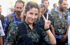 A viral photo allegedly shows a female Kurdish soldier who's slain over 100 Islamic State fighters. But a Swedish journalist who actually met the woman in the photo says she's a former law student who volunteered with the home guard or police force of Kobane, and isn't a front-line fighter. Therefore it's unlikely she's killed huge numbers of the enemy. http://hoaxes.org/photo_database/viral_images