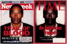 "This digitally altered photograph of O.J. Simpson appeared on the June 1994 cover of Time magazine shortly after Simpson's arrest on murder charges. This photograph was manipulated from the original mug shot. A copy of the mug shot also appeared, unaltered, on the cover of Newsweek. Time magazine was subsequently accused of manipulating the photograph to make Simpson appear ""darker"" and ""menacing."" http://www.cnet.com/pictures/pictures-that-lie-photos/"