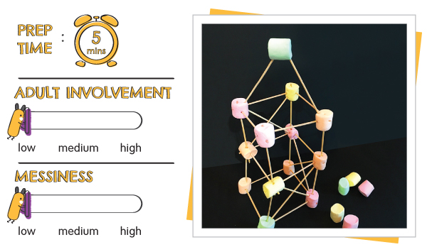 Atom & the Dot | How To Not Fall Down | Gravity, Balance & Center of Gravity | Play 3 marshmallow challenge with skewers