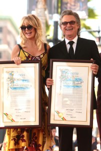 Kurt Russell and Goldie Hawn seen at ceremony honoring them each with a star on the Hollywood Walk of Fame on Thursday, May 4, 2017, in Los Angeles. (Photo by Eric Charbonneau/Invision for Twentieth Century Fox/AP Images)