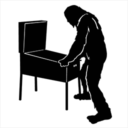 silhouette of a bigfoot playing pinball