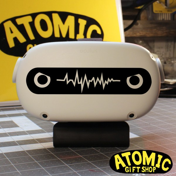 Mad noise robot eyes with waveform mouth reminiscent to futurama style bot.