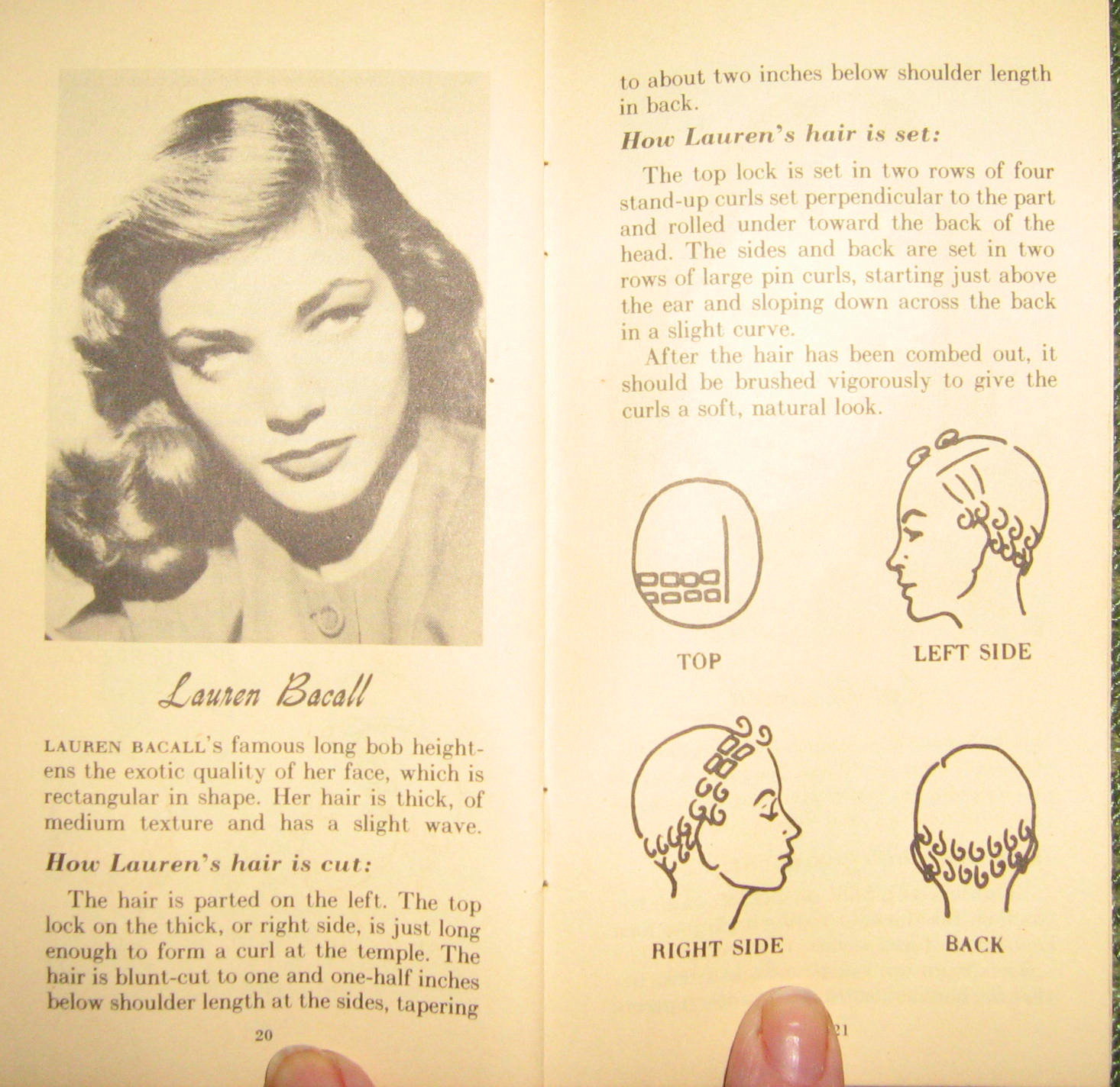 pin curl diagram craftsman dyt 4000 wiring victory vintage sets and lauren bacall hair