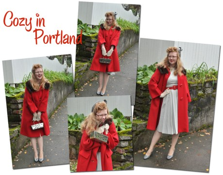 An attempt at doing a poodle hair do with a vintage grey dress, vintage red wool coat, vintage grey hat, thrifted grey shoes.
