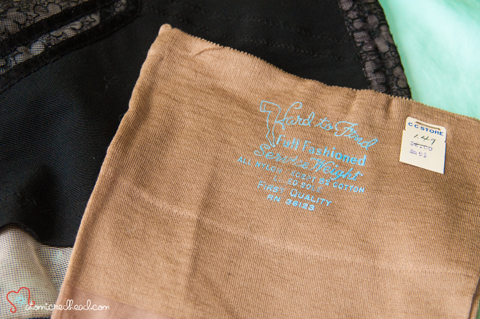 Vintage seam nylon stockings dark brown