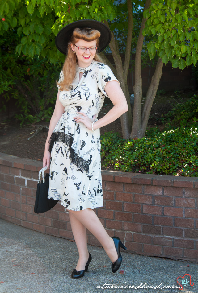 Vintage black and white ensemble, a 40s rayon dress with a print of birds, hat, 40s purse, and even 40s shoes.