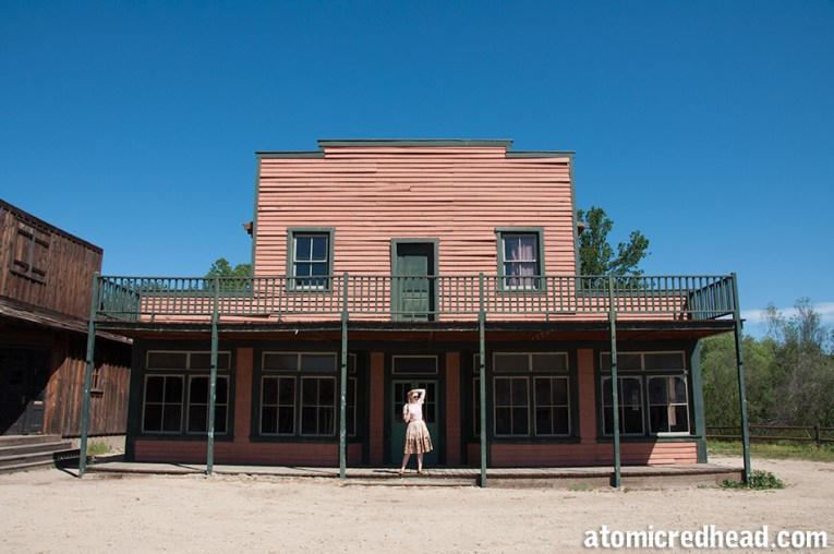 Standing in front of the large two story building that was used as Bray's Mercantile.