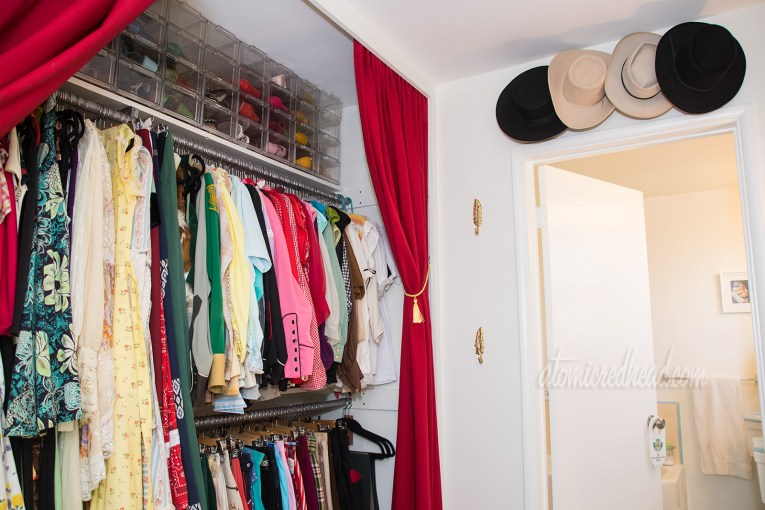 Dressing room, with closet off to left, hat storage above entrance to bathroom