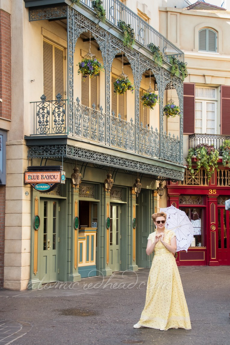 Along the streets of New Orleans Square, in my spring Dapper Day dress.