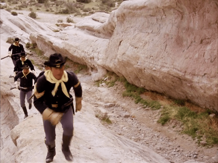 "The Villain's soldiers chase after West at Vasquez Rocks in The Wild Wild West episode ""The Night of the Cadre."""