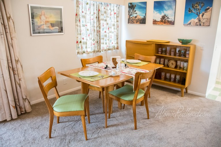 The dining room, complete with the four finished chairs.