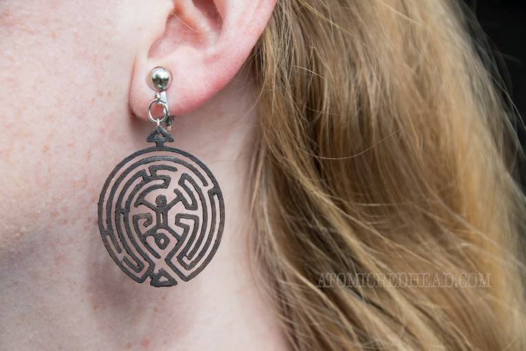 Close up of my earrings - The maze from Westworld
