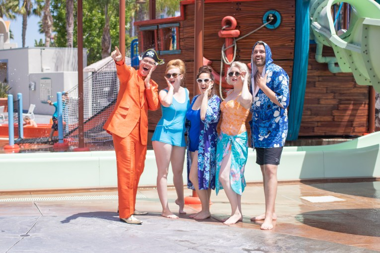 Friends and I with Charles Phoenix, in vintage swimwear, and him in a sparkling orange suit.