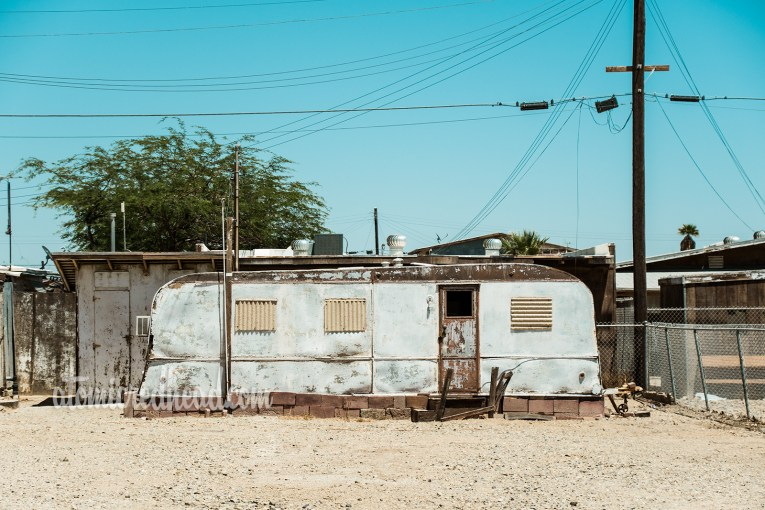 Vintage trailer, abandoned, rusted and faded.