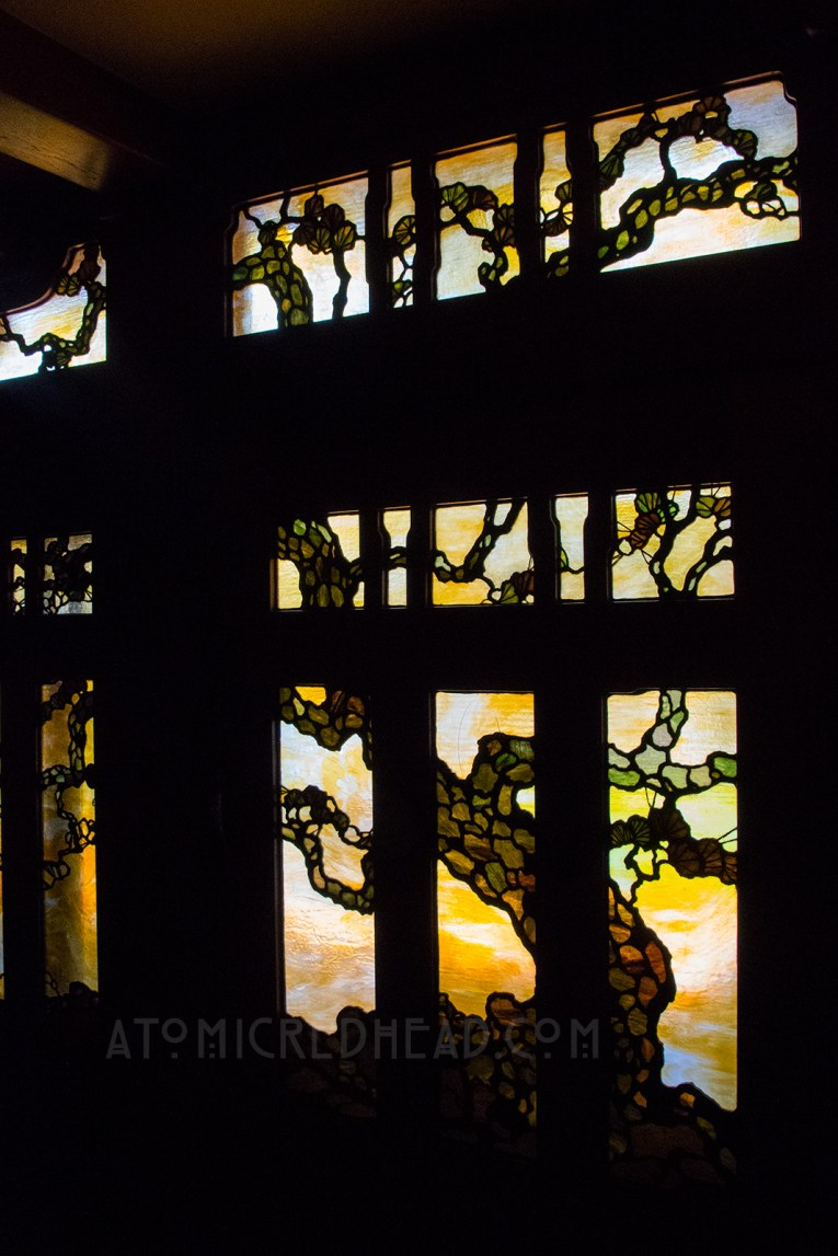 Interior of the front door - a stained glass tree.
