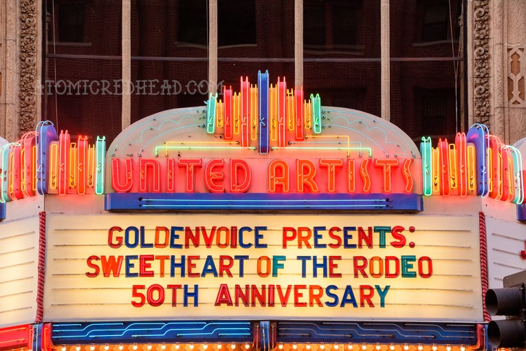 """The neon marquee reading """"Goldenvoice Presents: Sweetheart of the Rodeo 50th Anniversary"""""""