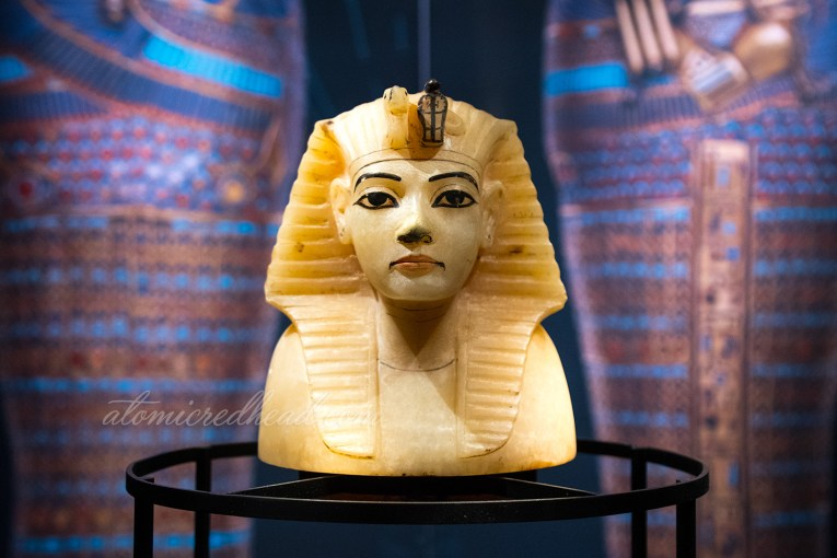 The top of one of Tut's conopic jars, which features his likeness.