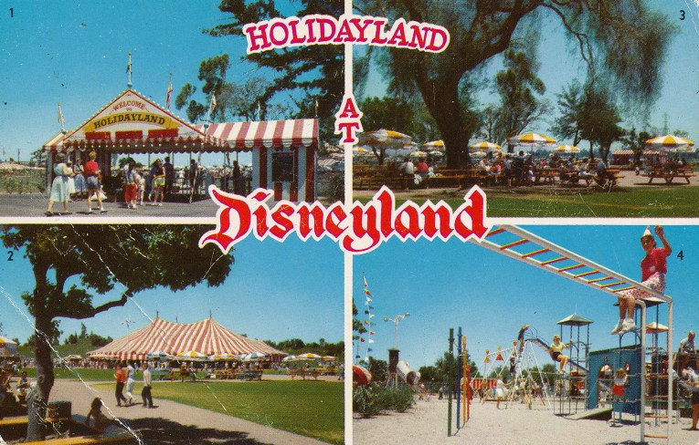 Holidayland - Disneyland's lost land. Another 4 image postcard, featuring the entrance to Holidayland of a ride and white stripe tent, the activity tent, which is another large red and white stripe tent, the picnic area with yellow and white umbrellas, and the children's play area.