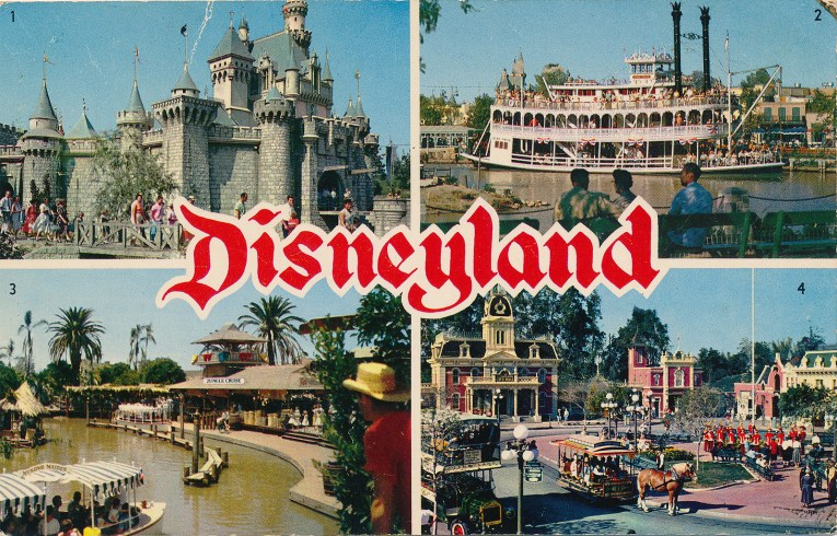 Another 4 image postcard, featuring Sleeping Beauty's Castle, the Mark Twain Riverboat, the dock of the Jungle Cruise, and a look at Main Street's City Hall.