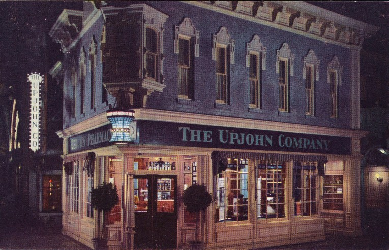 The Upjohn Pharmacy that used to be along Main Street. A blue and white building with a large stained glass mortar and pestle lamp.