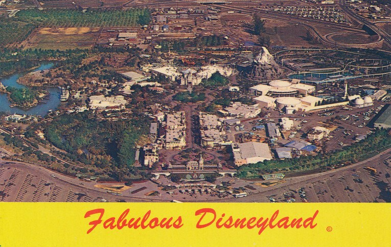 "An arial view of Disneyland, with Sleeping Beauty's Castle in the middle, and each of the lands radiating out from the middle. ""Fabulous Disneyland"" is written across the bottom."
