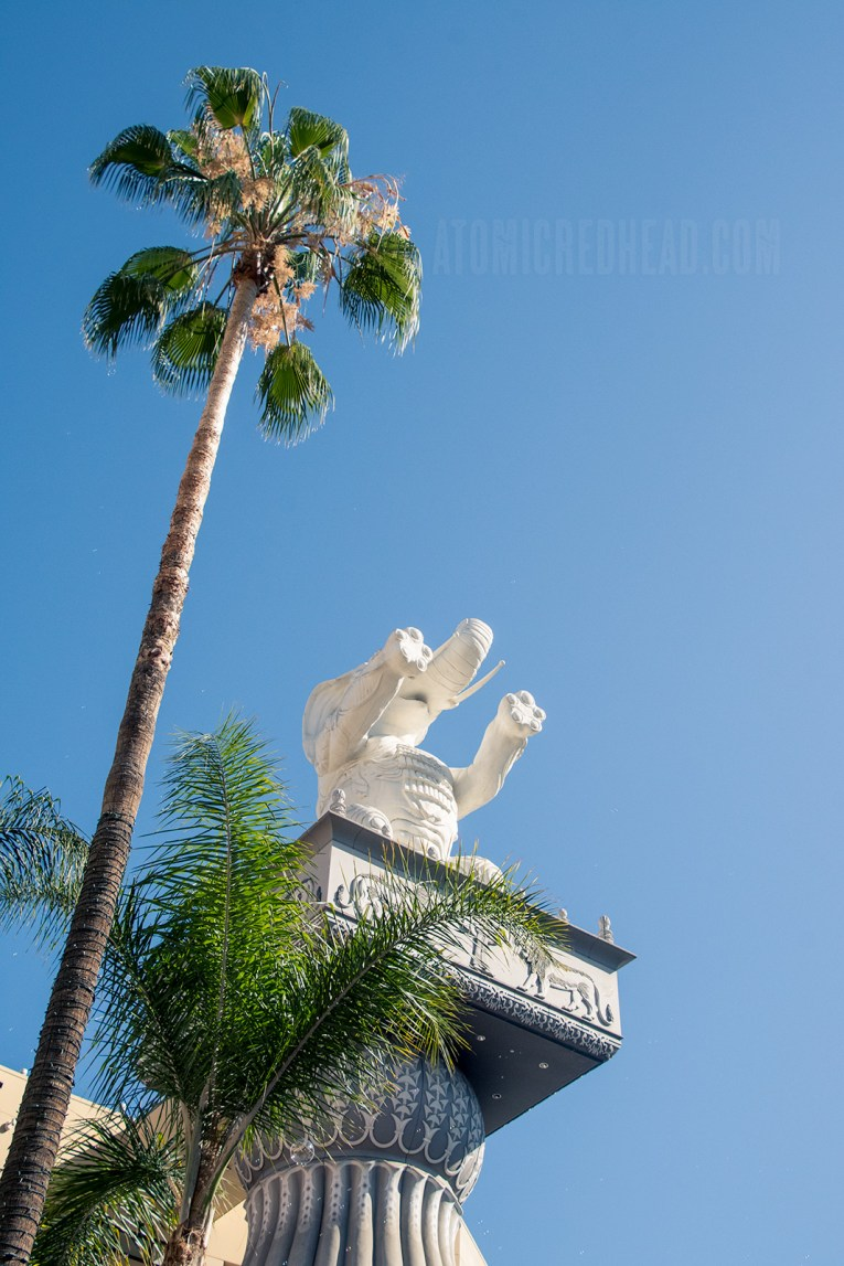 Towering palm trees sway near the elephant.