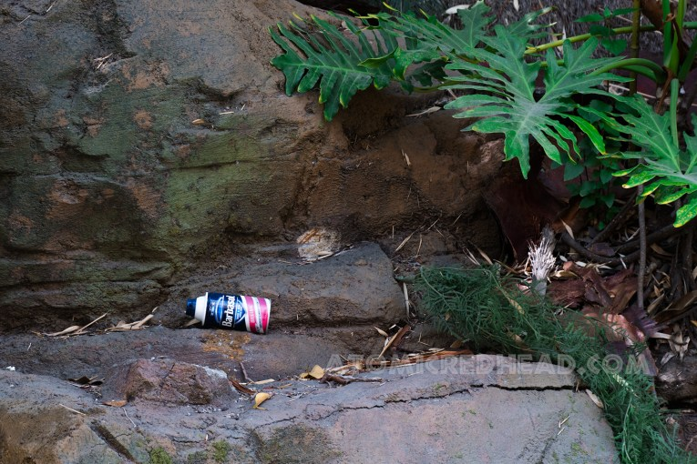 A can of Barbasol shaving cream, like that in the movie, sits upon the rocks.