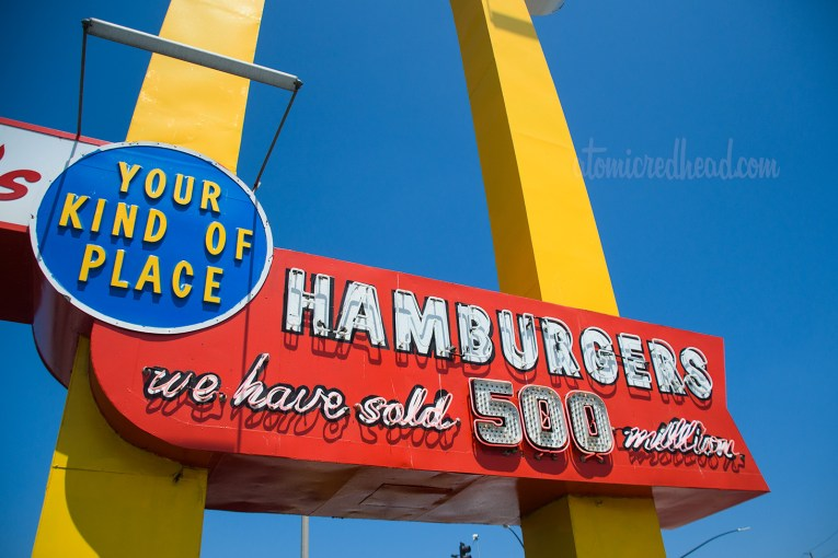 """Portion of the Speedee sign, """"Your Kind of Place. Hamburgers. We have sold 500 million"""""""