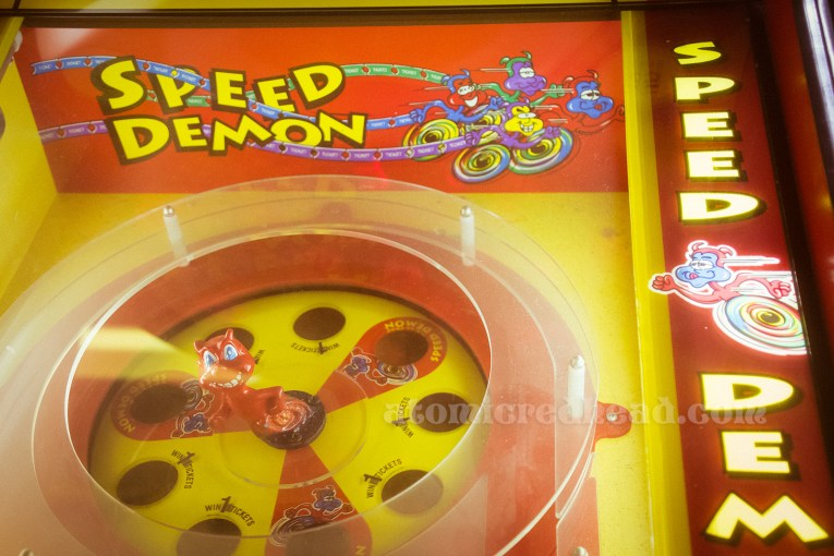 Speed Demon game, featuring a little red devil who spins around.