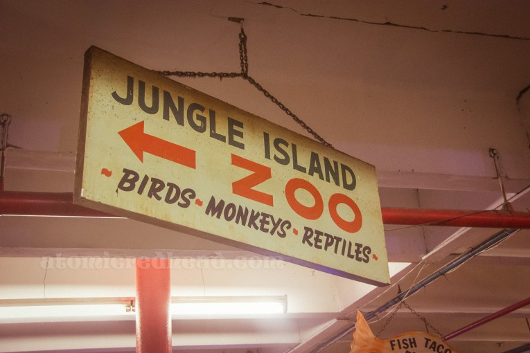 "A sign reading ""Jungle Island Zoo Birds - Monkeys - Reptiles"""