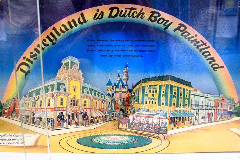 """Disneyland is Dutch Boy Painted"" paper 3-D display showcasing Main Street USA, advertising that Disneyland was painted using Dutch Boy paint."