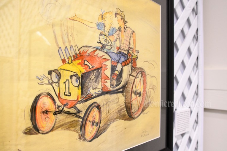 """Concept art for """"Tractor Ride"""" an attraction that never was. Illustration features a hot rod and a couple arguing in the car."""