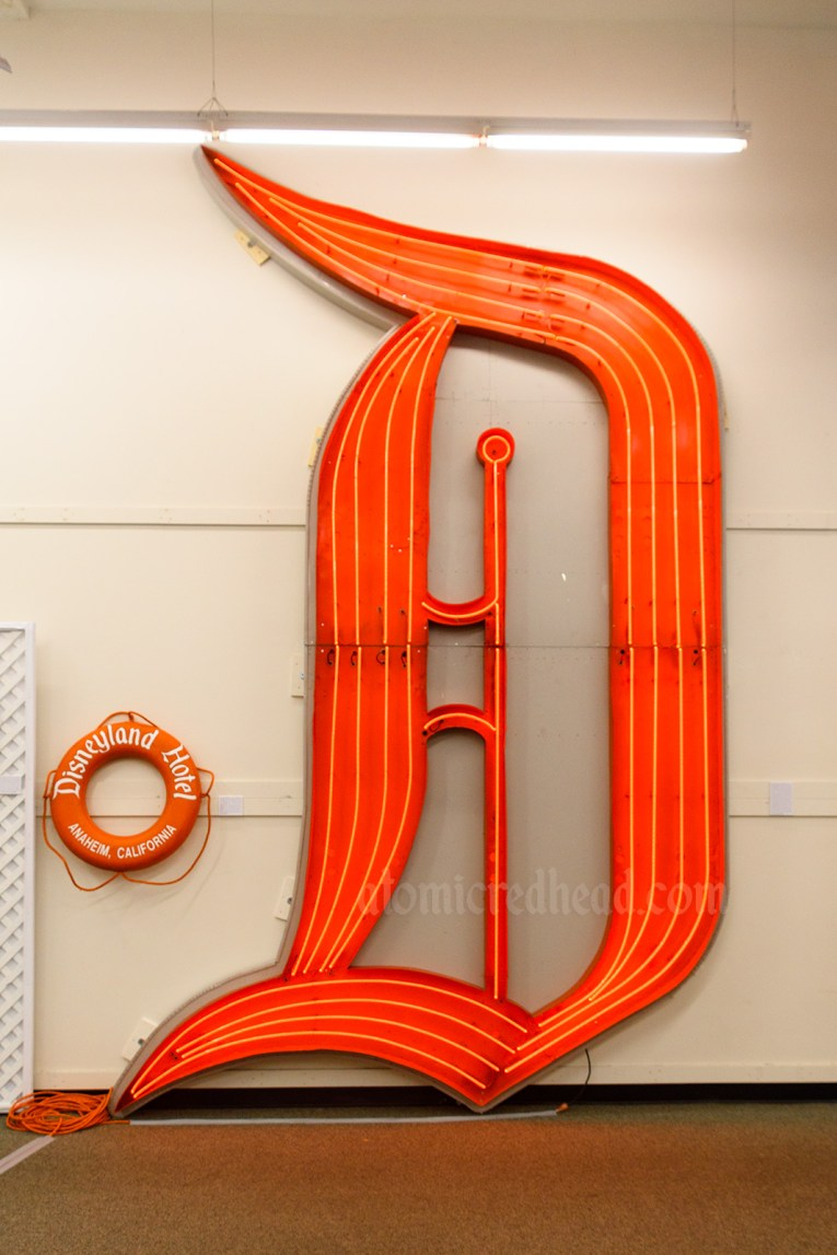 Large red neon D that once hung on the Disneyland Hotel.