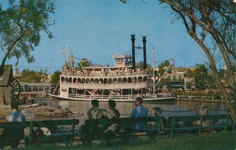 The Mark Twain, a southern paddle wheeler of white.
