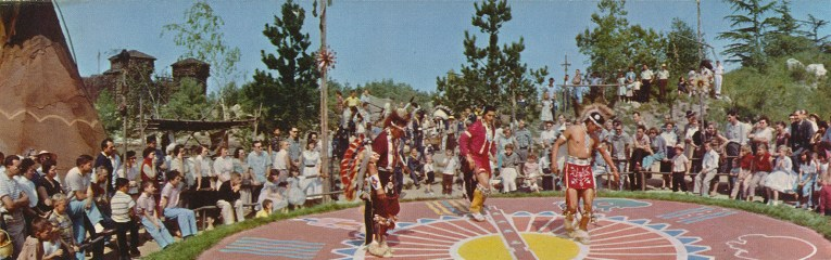 Native Americans dance in the ceremonial circle.