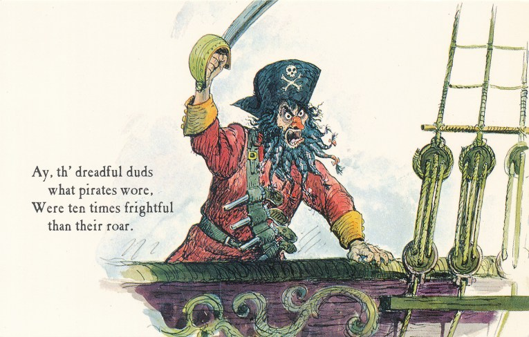 "Concept art for Pirates of the Caribbean - Blackbeard raises his sword at the edge of a ship. Text reads ""Ay, th'dreadful duds what pirates wore. Were ten times frightful than their roar."""