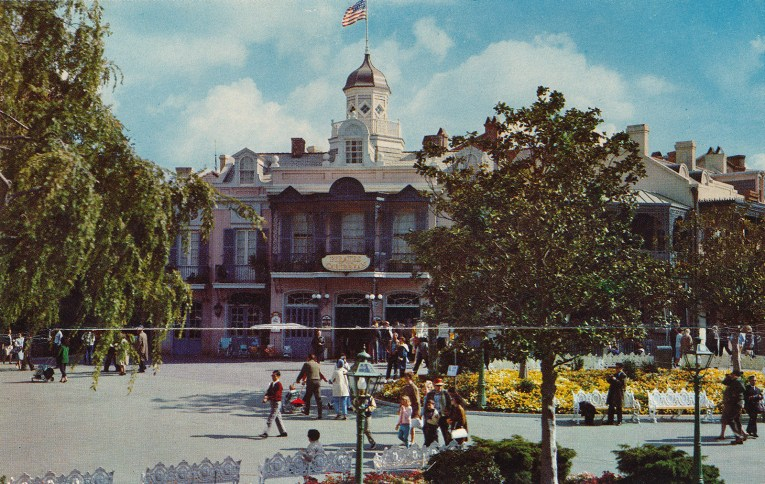 Exterior of Pirates of the Caribbean, with wrought iron archway balconies and shuttered windows.