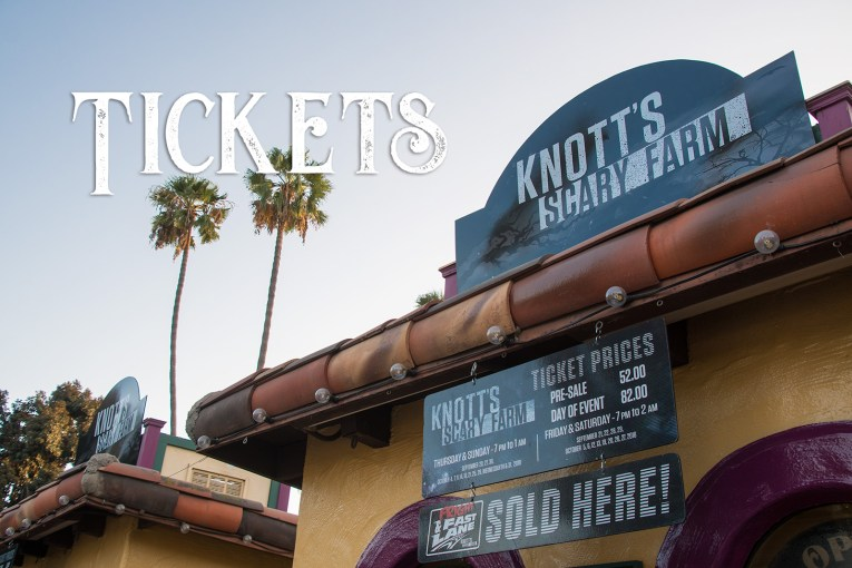 Tickets. A ticket booth at Knott's Berry Farm with special signage for Scary Farm.