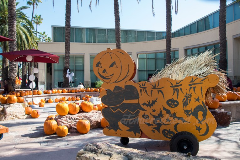 A pumpkin headed man holds a bag printed with bats, pumpkins, skeletons, and witches, among a variety of pumpkins.