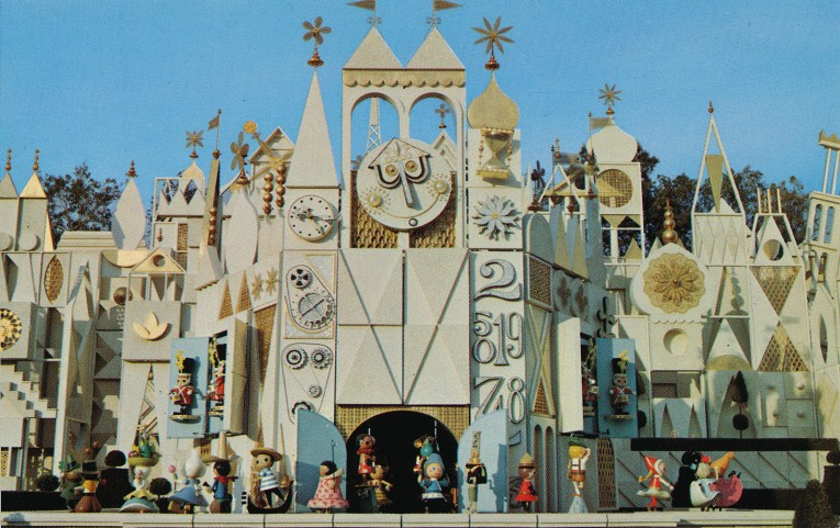 The facade of it's a small world, which is gold and white and has abstract versions of icons from the world, such as the Leaning Tower of Pisa.