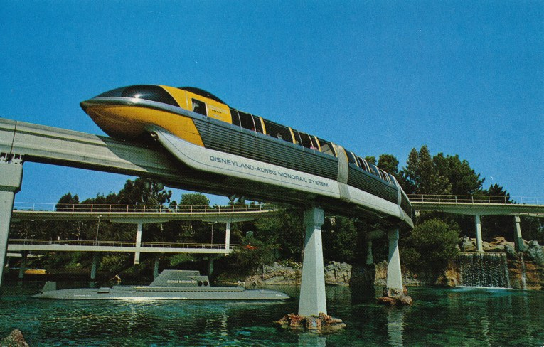Disneyland Monorail gliding above the Submarine Lagoon.