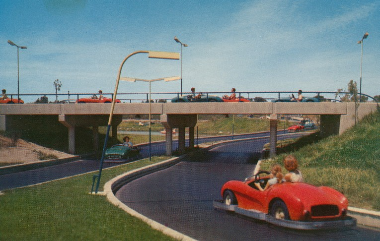 """Autopia, Guests drive small cars along the """"freeways of the future"""""""